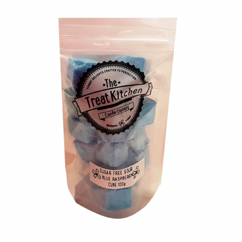 Sour Blue Raspberry Cubes Sugar Free Hard Boiled Sweets Pouch - The Treat Kitchen Confectionery 100g